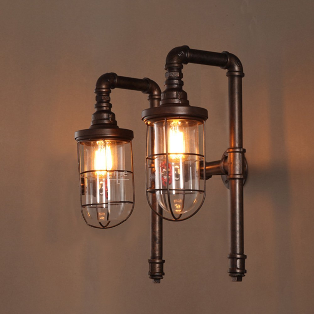 HOMEE Wall lamp- american industrial wind loft retro water pipe creative double - headed iron wall lamp aisle staircase entrance hall wall lamp --wall lighting decorations by HOMEE