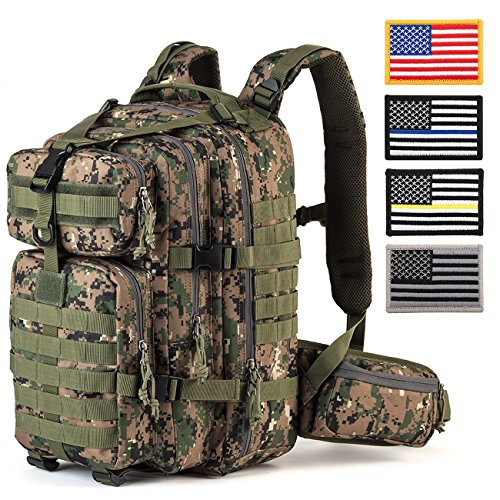 RUPUMPACK Military Tactical Assault Backpack with USA Flag Patch, Hydration Backpack, 33L (Jungle Camouflage)