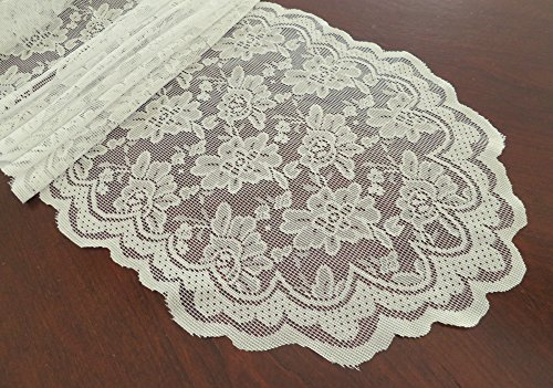 Goldstream Point Ivory 108 Inch x 13.5 Inch Lace Table Runner Wedding Extra Long Roll