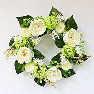 Puleo International 24-Inch Artificial Hydrangea Wreath, White Potted Plant 11