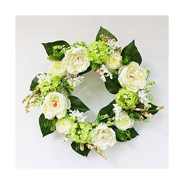 Puleo International 24 inch Artificial Green Hydrangea and White Rose Floral Spring Wreath
