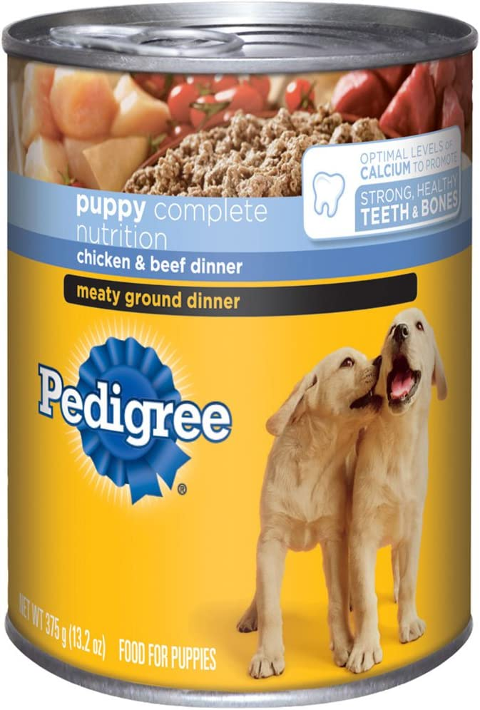 Pedigree Meaty Ground Dinner Puppy Complete Chicken & Beef Canned Dog Food 13.2 Ounces (Pack Of 24)