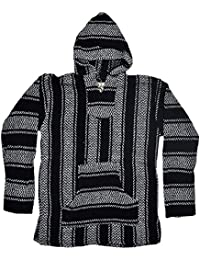 Striped Woven Eco-Friendly Jacket Coat Hoodie (Black, Small)