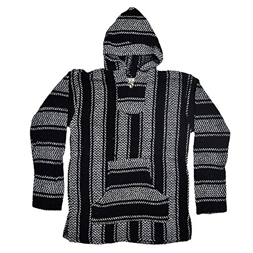 Baja Joe Striped Woven Eco-Friendly Jacket Coat Hoodie (Black, Small)