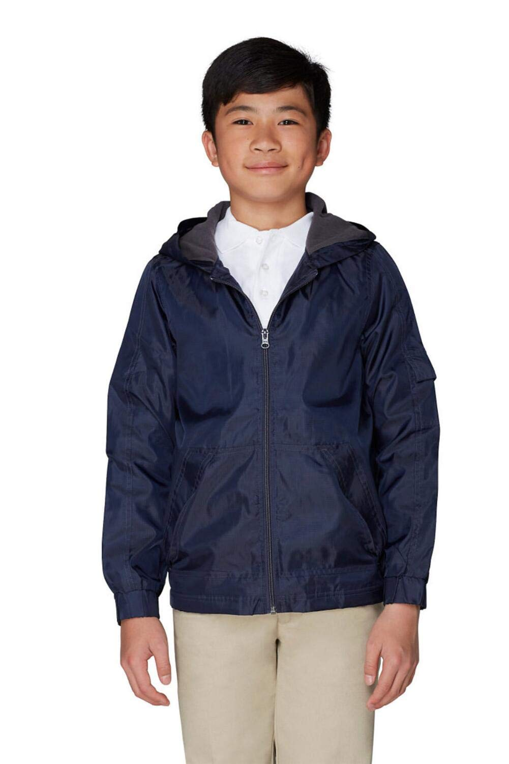 French Toast Boys' Big Transitional Jacket, Navy, L (10/12)