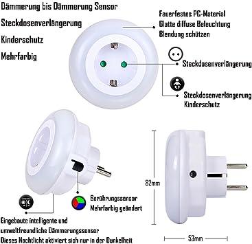 LED plug dans 3 couleurs changeantes Veilleuse Lampe Socket crépuscule à l/'aube mode