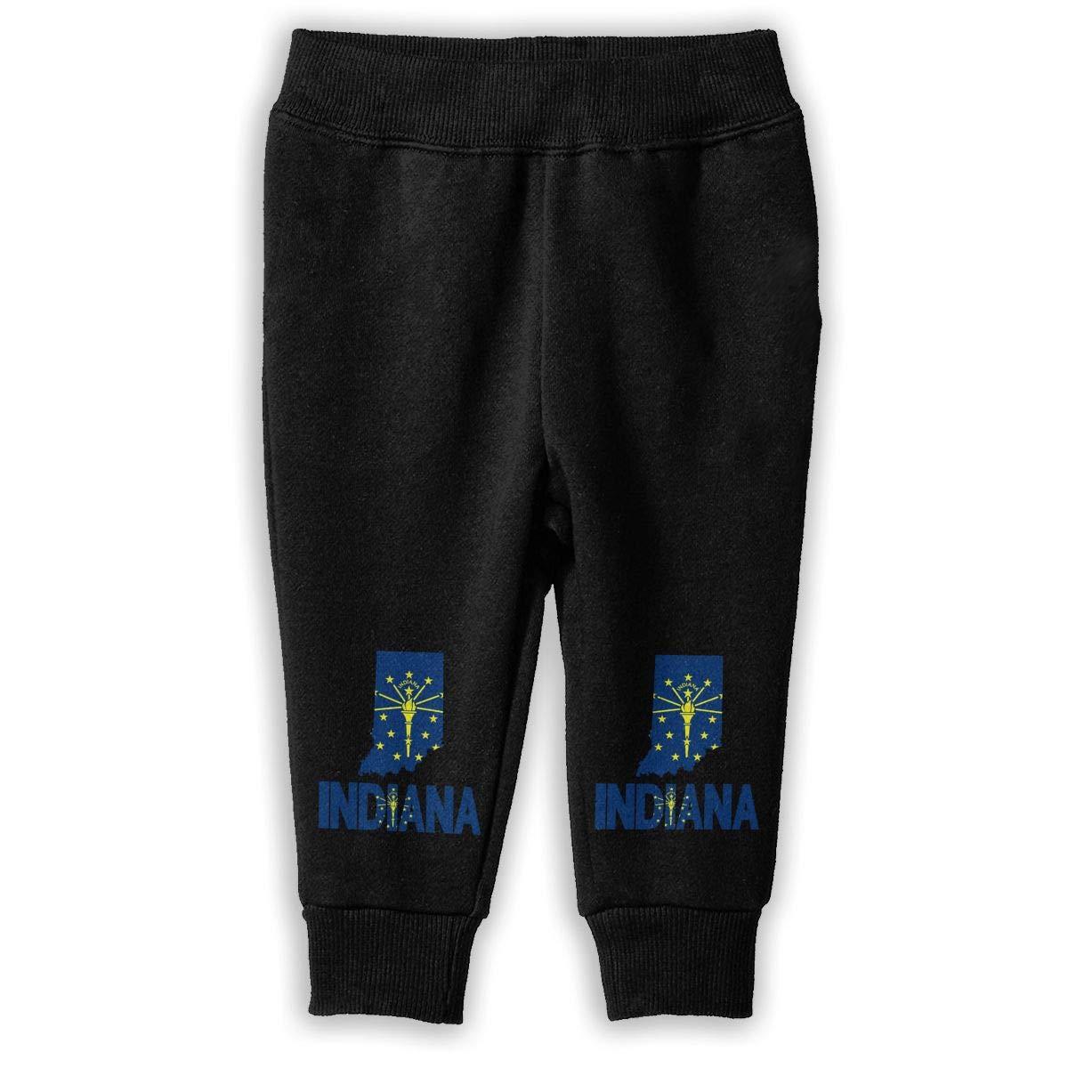 NJKM5MJ Indiana Map Flag and Text Sweatpants Baby Boys Fleece Pants