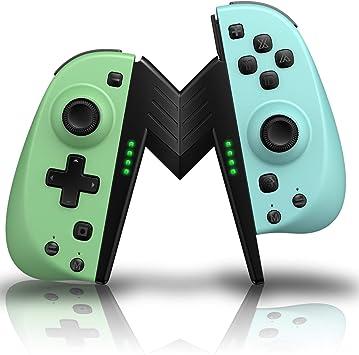 ECHTPower - Juego de 2 mandos inalámbricos para Nintendo Switch, Bluetooth, color verde neón, azul neón, mando con soporte como repuesto para joysticks inalámbricos: Amazon.es: Electrónica