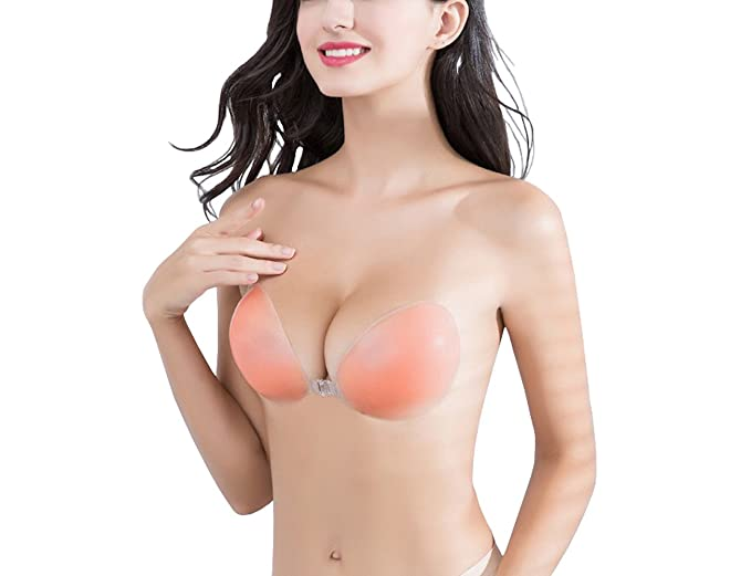 Wingslove Adhesive Bra Reusable Strapless Self Silicone Push-up Invisible Sticky Backless Bra