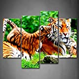 First Wall Art - A Big Tiger Lie On Lawn With Baby Tiger Lie On It Wall Art Painting Pictures Print On Canvas Animal The Picture For Home Modern Decoration