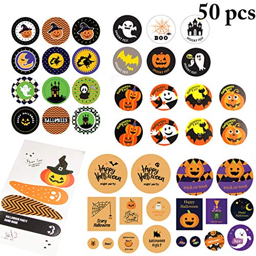 FunPa 50 Sheets Halloween Seal Sticker Cute Creative Assorted Seal Label Packaging Sticker