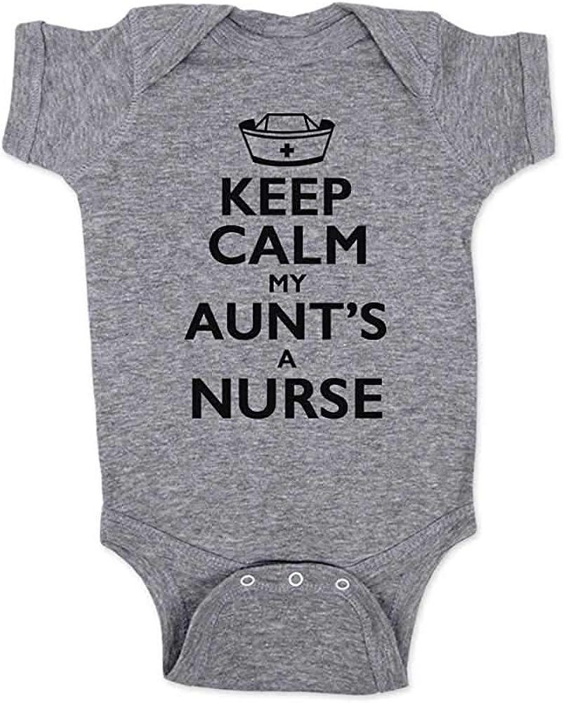 LittleHorn Baby Bodysuit Keep Calm My Aunts A Nurse Baby Climbing Clothing Onesie Newborn Girl Boy Shower Gift