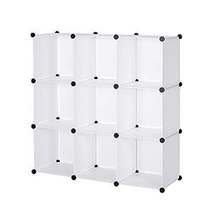 WOLTU SR0055wsOT DIY Armoire Plastique Chambre Faite de modules sans Porte pour Le Stockage de vêtements, Accessoires, Jouets, Livres,Chaussures,9 Cubes Blanc