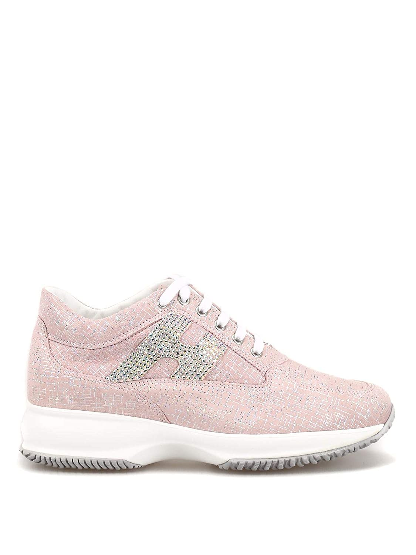 - Hogan Women's HXW00N02011KFSM413 Pink Fabric Lace-Up shoes