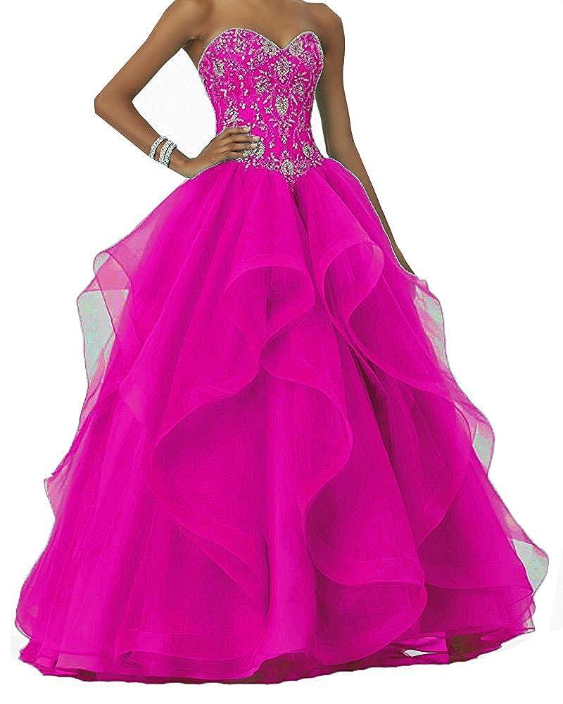 CLLA dress Damen Abendkleider Prinzessin Ballkleid Perlstickerei Quinceanera Kleider Festzug Kleid B078X95Z6W Brautkleider Elegant