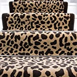 The Rug House Lima Leopard Brown Animal Print Design Stair Carpet in 2' - 3' Widths and 1' - 64' Lengths