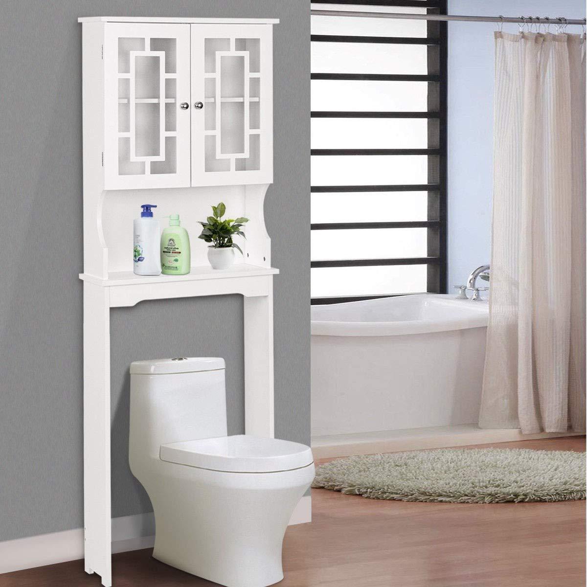 BestComfort Wooden Over The Toilet Cabinet Storage, BathroomOrganizerOverToiletStorage, Above The Toilet Space Saver Cabinet (23.5''x 9''x 67''(L x Wx H)) by BestComfort