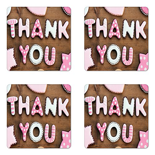 Ambesonne Thank You Coaster Set of Four, Romantic Sweet Cook