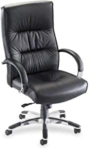 Lorell Hi-Back Executive Chair, 26 by 29-1/2 by 49-13/16-Inch, Black Leather