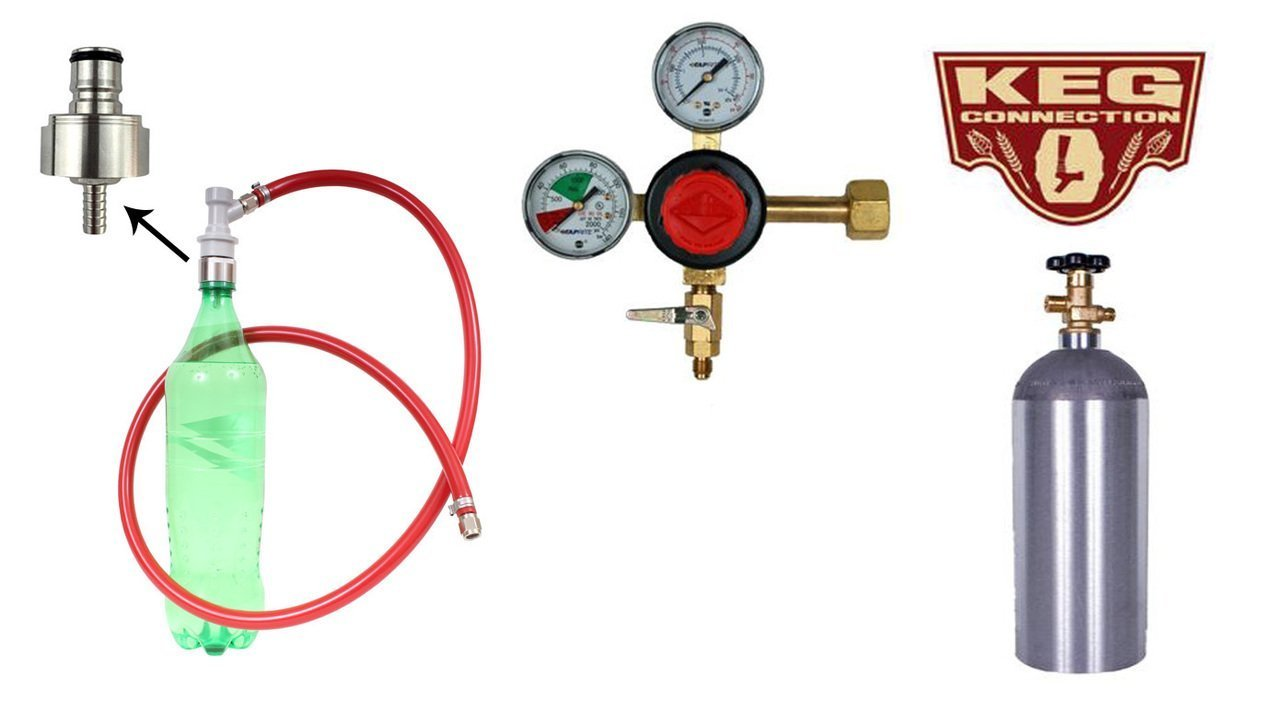 Carbonating Kit, Soda, Taprite Regulator, 5# Air Cylinder, Stainless Steel Carbonation Cap