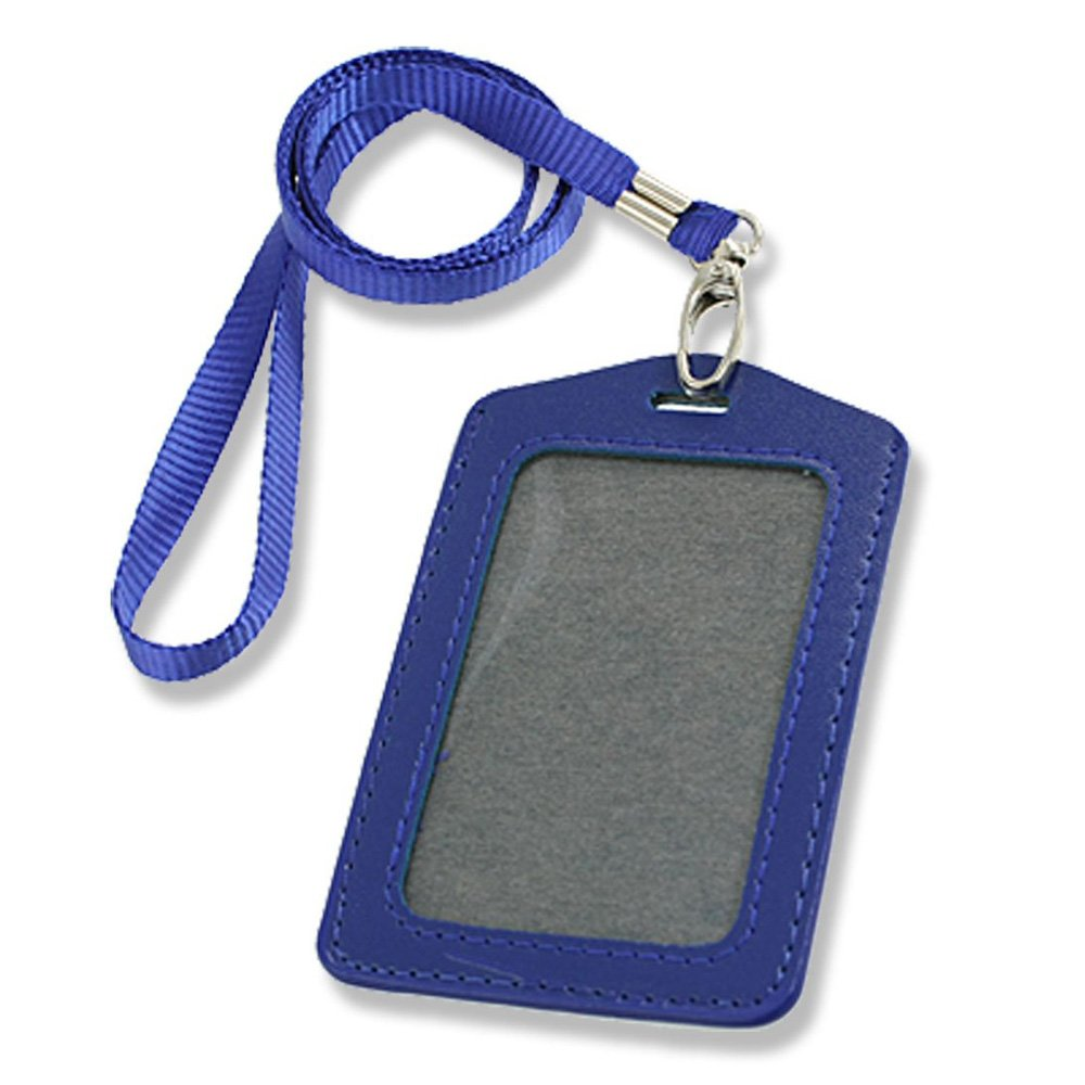 SODIAL(R) Blue Faux Leather Badge ID Card Vertical Holders Neck Strap 2 Pcs 006927