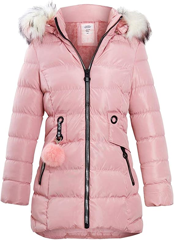 Girls Fleece Lined Padded Parka Coat Faux Fur Jacket Age 3 4 7 8 9 10 11 12 13