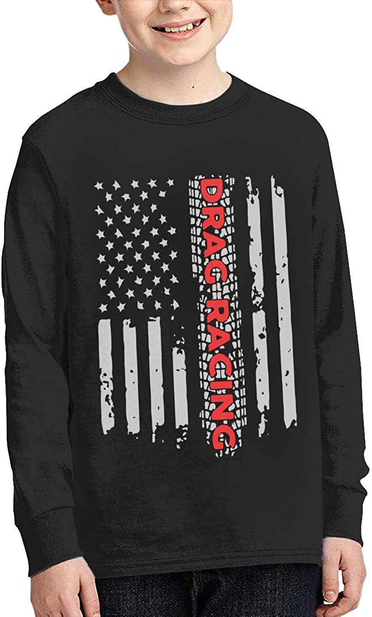 Teenagers Teen Girls Drag Racing Flag America Printed Long Sleeve 100/% Cotton Clothes