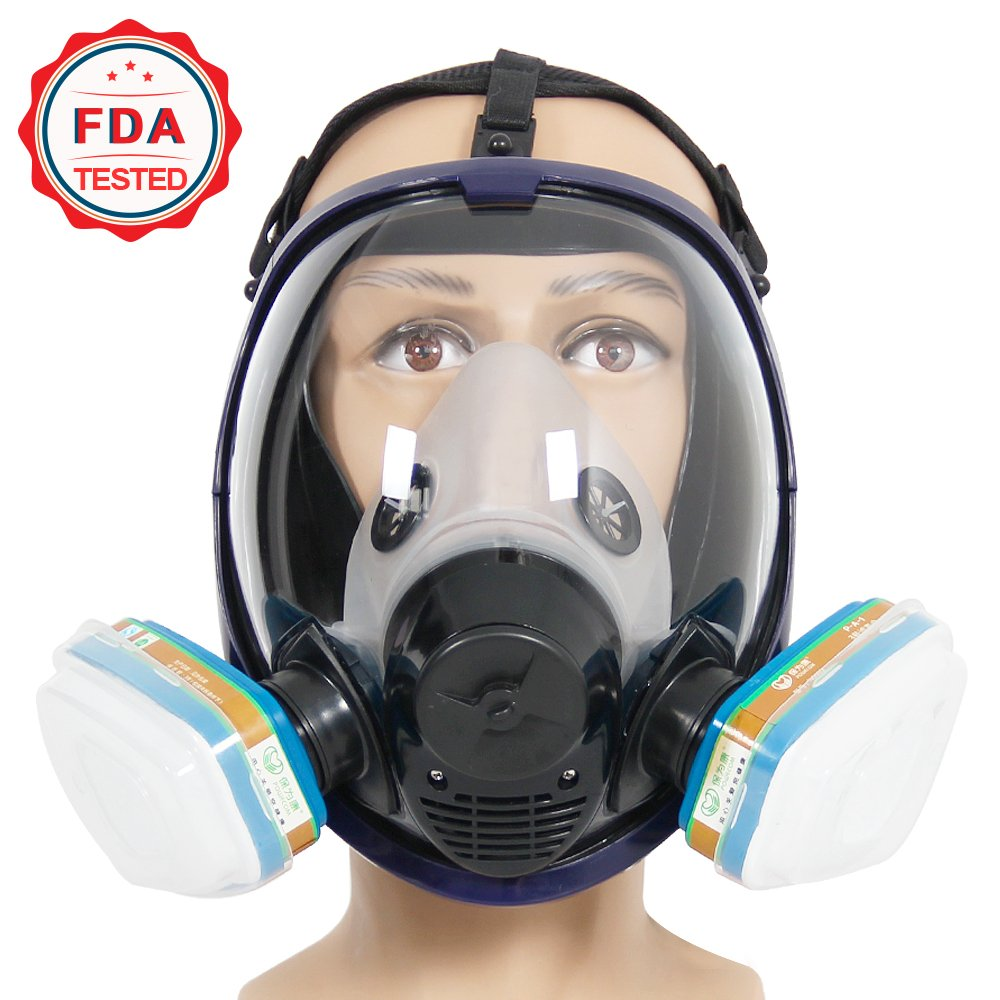 Complete Suit Trudsafe 6800 Painting Spraying Full Face Gas Chemical Mask Respirator, Dust Mask, 2 Kinds of Connectors, Good Tightness, Filters Included by Trudsafe (Image #2)