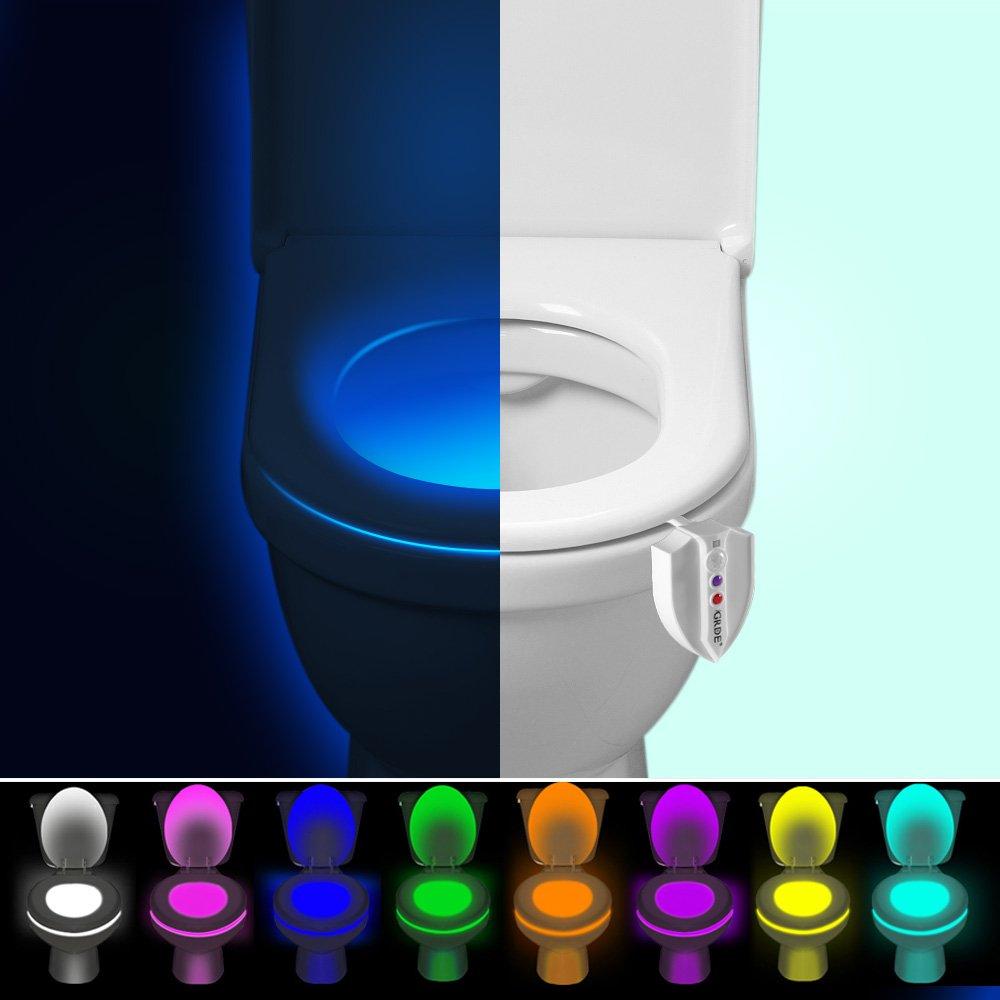 Luz de WC, LED Lámpara de Noche, Iluminación Higiénica con Sensor de Movimiento, UV Esterilización, Cambio de 8 Colores, Luz de Noche con Batería para WC, ...