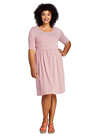 a51731893d79 Lands' End Women's Plus Size Elbow Sleeve Stripe Fit and Flare Dress at Amazon  Women's Clothing store: