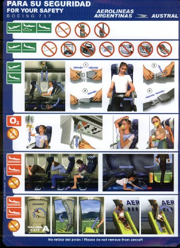 Aerolineas Argentinas Austral Airlines Boeing 737 Emergency Instructions card