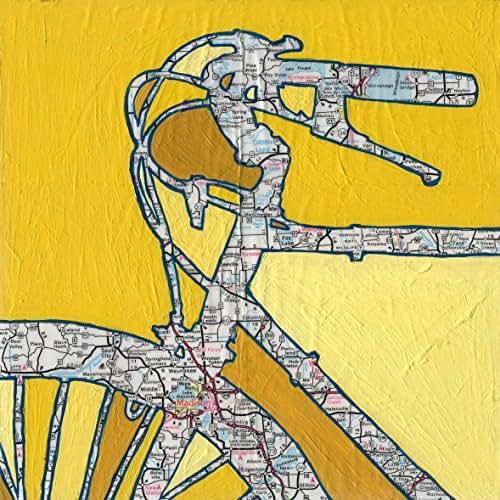 Madison - featuring -- Madison, Stoughton, Maple Bluff, Medota, Wisconsin, bike, cycle, bicycle art print, 8.5x8.5, 13x13, 16x16