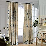 KoTing Blackout Lining Drapes,Blue Willow Leaves and Branches In the Spring Window Curtain,50W