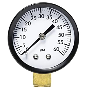 "Aquatix Pro Pool Filter Pressure Gauge - Premium Spa/Pool/Aquarium Water Pressure Gauge, 2"" Dial, 0-60 Psi, Bottom Mount 1/4"", Compatible with Most Brands Such as Hayward, Pentair & Jandy"