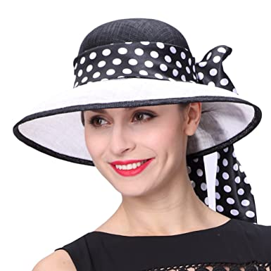 1253eea4b27 Image Unavailable. Image not available for. Colour  June s Young Lady White  Black 3 Layers Sinamay Wedding Hats Sun Hat Saratoga Race Course