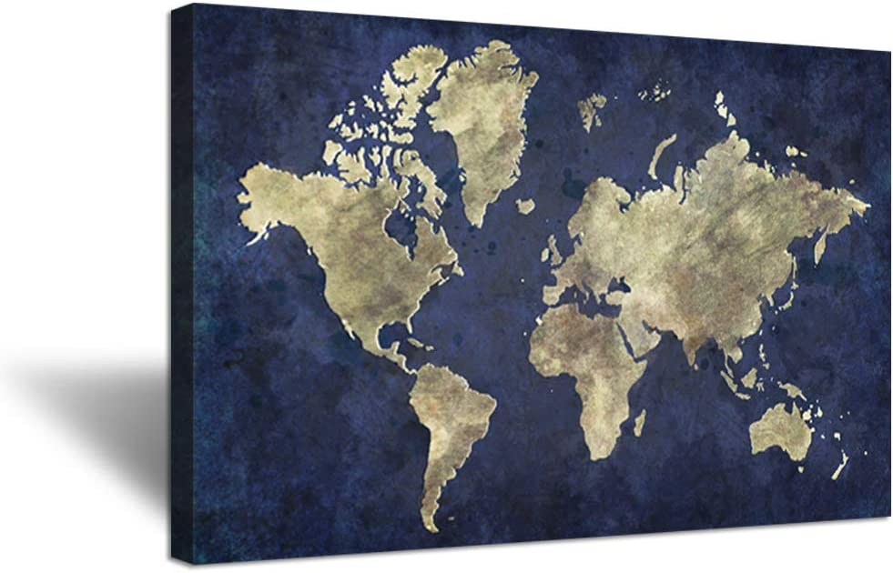 Hello Artwork Large Size Navy Blue World Map Canvas Wall Art The Picture Vintage Style Globe Earth World Geography Painting On Canvas Stretched And Framed For Modern Home Decor Ready To Hang 24x36inch