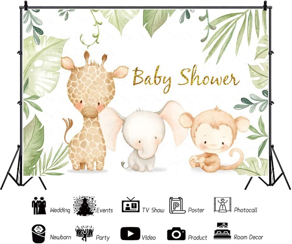 YEELE 10x8ft Cute Elephant Baby Shower Backdrop Giraffe and Monkey Friend in Jungle Photography Background Wild Theme Baby Shower Watercolor Party Decoration Artistic Portrait Photo Booth Wallpaper