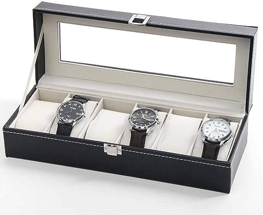 GOVD Caja para Relojes Hombre 6 Ranuras Caja para Guardar Relojes ...