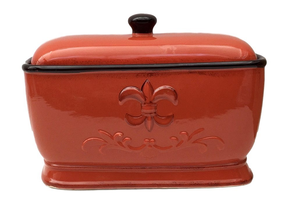 Tuscany Fleur De Lis Bread Box / Toast Jar Color: Burnt Orange