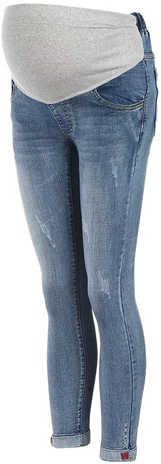 Doyeemei Maternity Jeans Belly support Womens Pants Denim Slim Maternity Elastic Jeans blue M