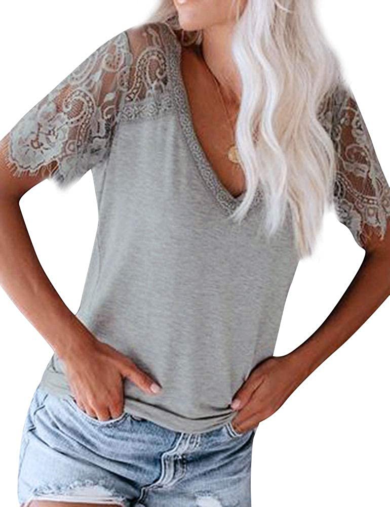 MYMORE Womens Black Lace Patchwork Blouse Top Summer V Neck T Shirts for Women