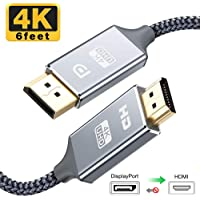 Capshi DisplayPort to HDMI Cable - 6 Ft 4K UHD Nylon Braided Gold-Plated DP-to-HDMI Unidirectional Cord DP to HDMI Male Chords Display Port to HDTV Monitor Video Connector DP to HDMI Ports Adapter