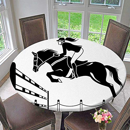 Mikihome Modern Simple Round Tablecloth Horse with a Jockey Girl Jumping Above Barrier Barn Farming Image Print Black Decoration Washable 40