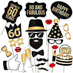 60th Birthday Photo Booth Props – Fabulous Sixty Party Decoration Supplies For Him & Her, Funny Sixtieth Bday Photobooth Backdrop Signs For Men And Women, Black And Gold Picture Décor – 34 Pieces