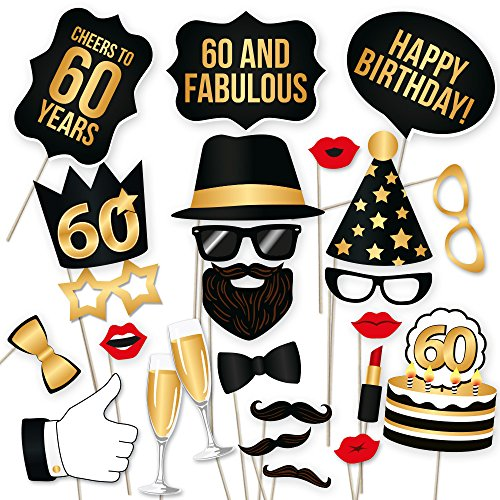 60th Birthday Photo Booth Props - Fabulous Sixty Party Decoration Supplies For Him and Her, Funny Sixtieth Bday Photobooth Backdrop Signs For Men And Women, Black And Gold Picture Decor -