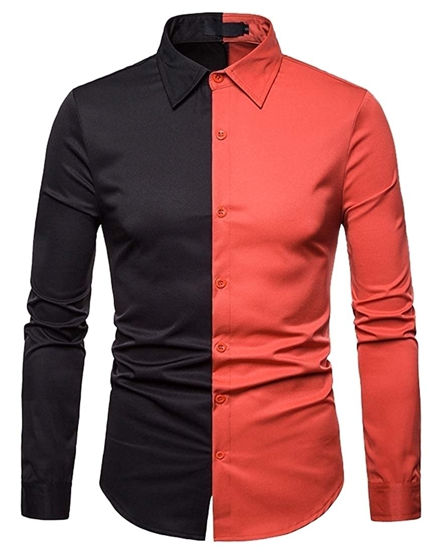 ouxiuli Mens Slim Fit Contrast Color Block Casual Button Down Shirt Button Up Shirts