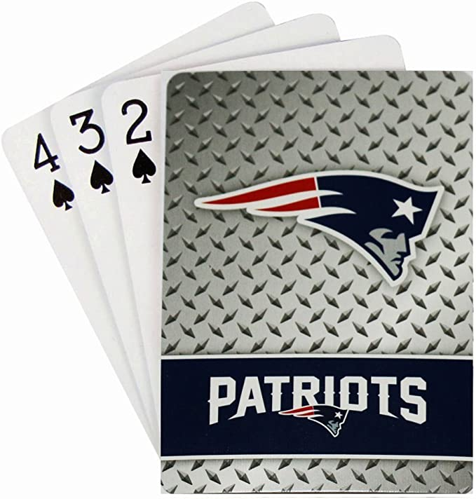 MasterPieces NFL New England Patriots Playing Cards,Blue,4 X 0.75 X 2.625