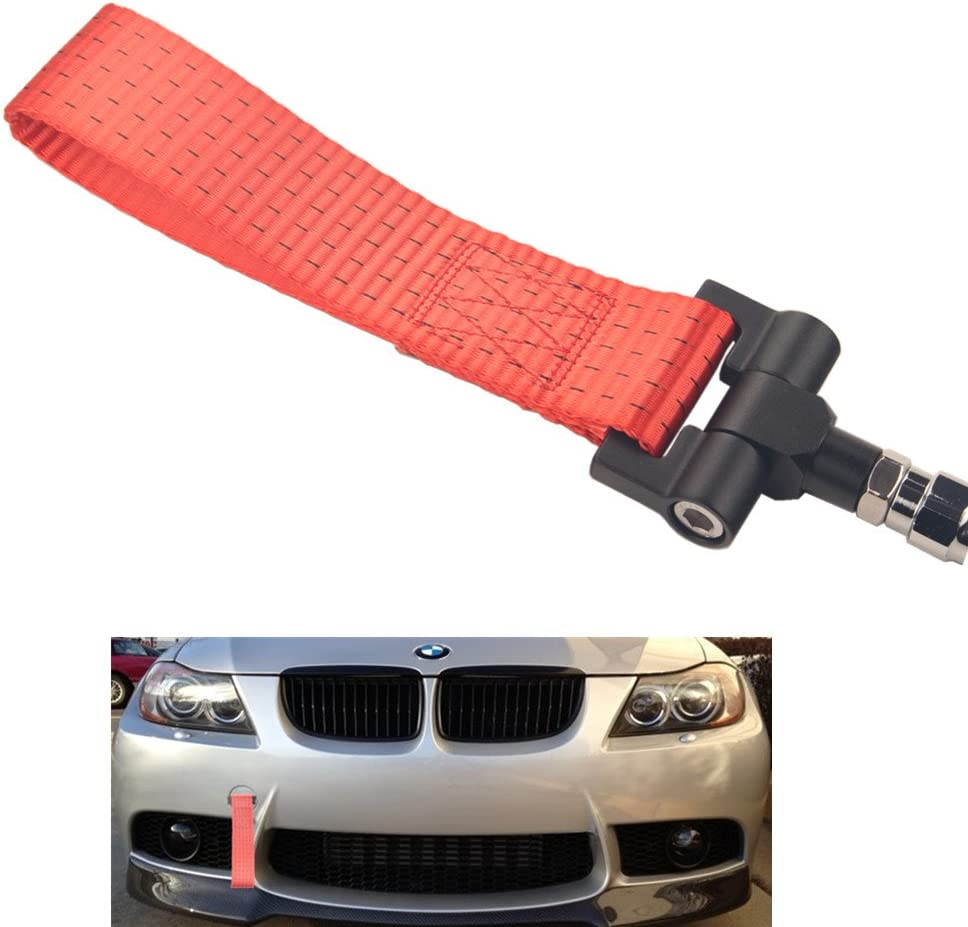 Dewhel Track Racing Style Tow Hook w//Black Towing Strap Front Rear Bumper Screw on For BMW 1 3 5 Series X5 X6 E36 E39 E46 E82 E90 E91 E92 E93 E70 E71 MINI Cooper