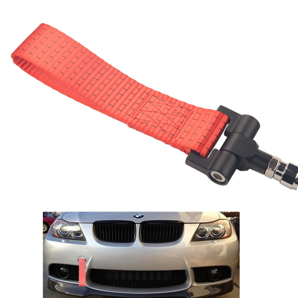 Dewhel Track Racing Style Tow Hook w/Red Towing Strap Front Rear Bumper Screw on For BMW 1 3 5 Series X5 X6 E36 E39 E46 E82 E90 E91 E92 E93 E70 E71 MINI Cooper by DEWHEL
