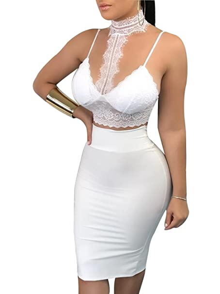 d7bf928b940 Amazon.com: Women Halter Neck Spaghetti Strap Crop Top Bodycon Bandage Club  Midi Dress: Clothing